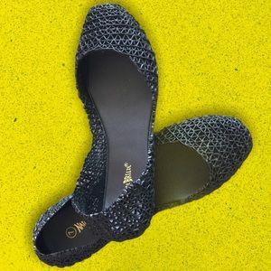 VSCO Black Glitter Geometric Jelly Closed Toe Flat